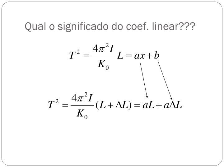 Qual o significado do coef. linear???
