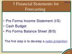 3 financial statements for forecasting