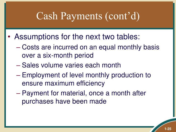 Cash Payments (cont'd)