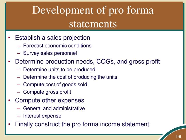 Development of pro forma statements
