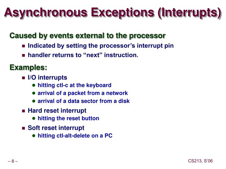 Asynchronous Exceptions (Interrupts)