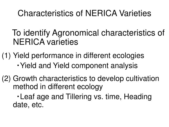 Characteristics of NERICA Varieties