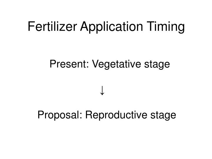Fertilizer Application Timing