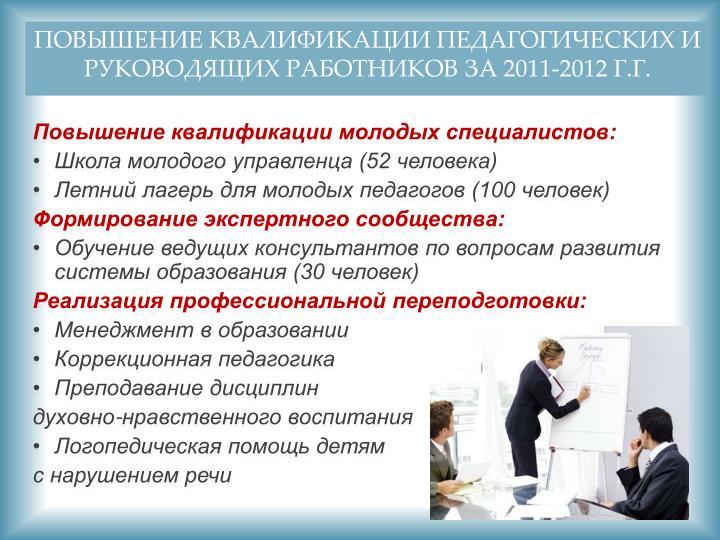 Повышение квалификации педагогических и руководящих работников за 2011-2012 г.г.