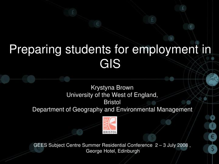Preparing students for employment in gis