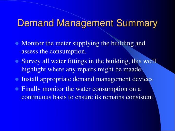 Demand Management Summary