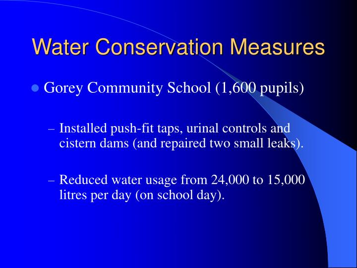 Water Conservation Measures