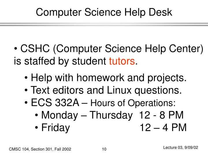 Computer Science Help Desk