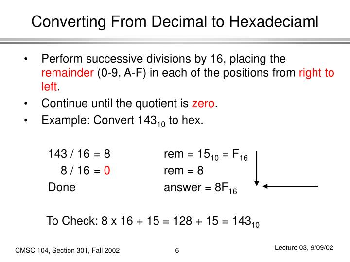 Converting From Decimal to Hexadeciaml