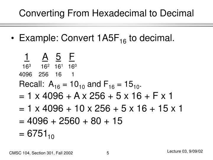 Converting From Hexadecimal to Decimal