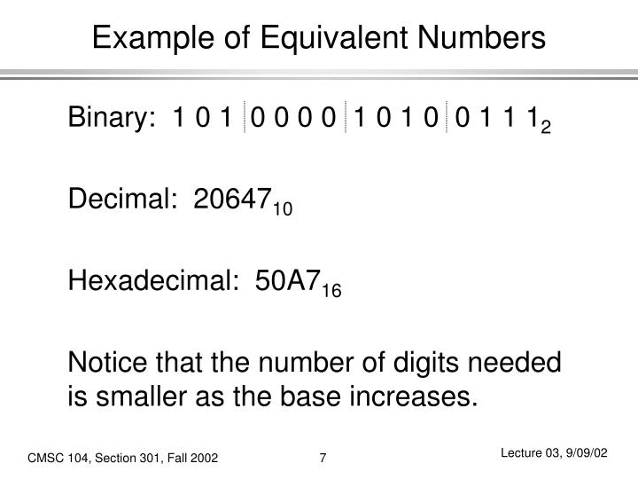 Example of Equivalent Numbers