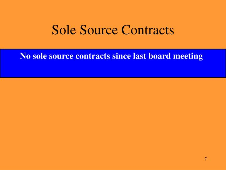 Sole Source Contracts