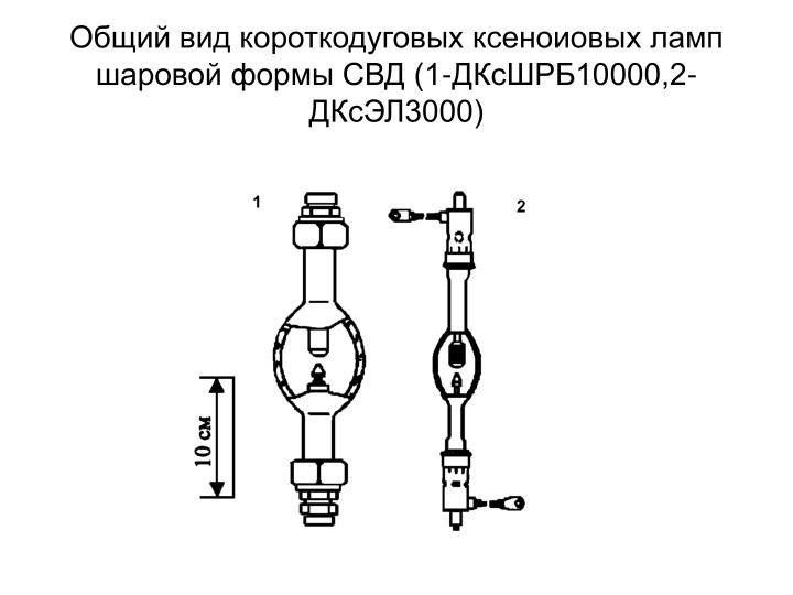 Общий вид короткодуговых ксеноиовых ламп шаровой формы СВД (1-ДКсШРБ10000,2-ДКсЭЛ3000)