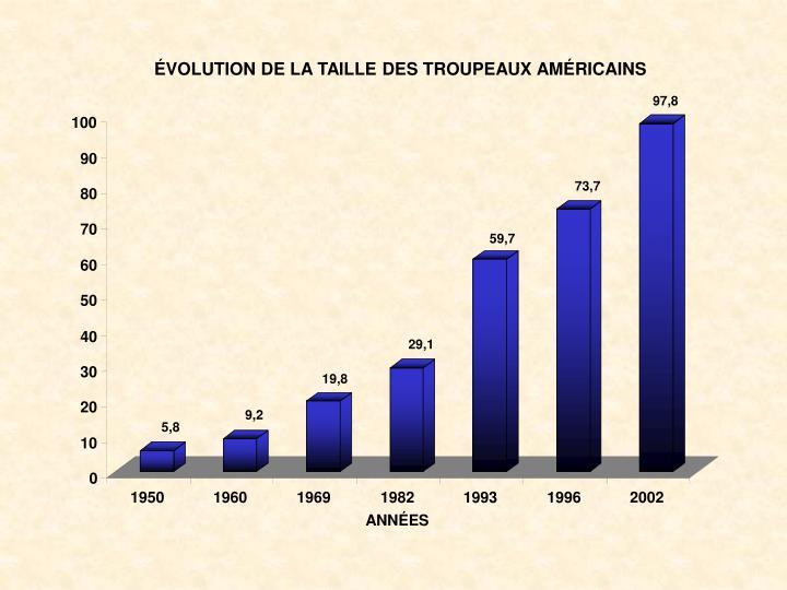 ÉVOLUTION DE LA TAILLE DES TROUPEAUX AMÉRICAINS