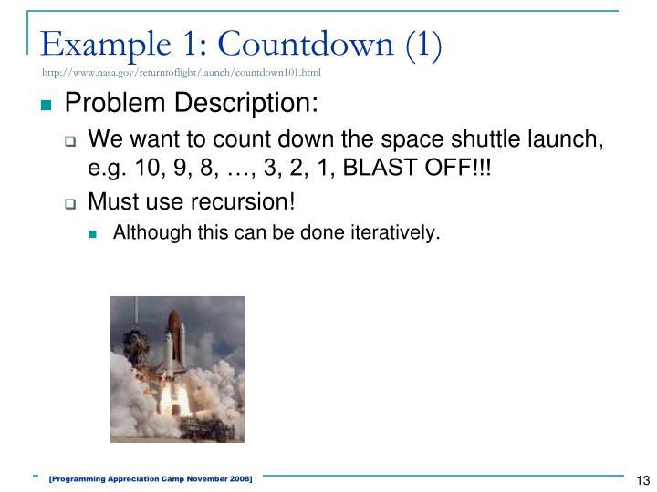 Example 1: Countdown (1)
