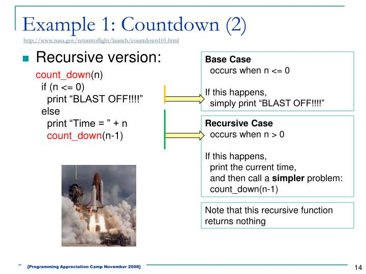 Example 1: Countdown (2)
