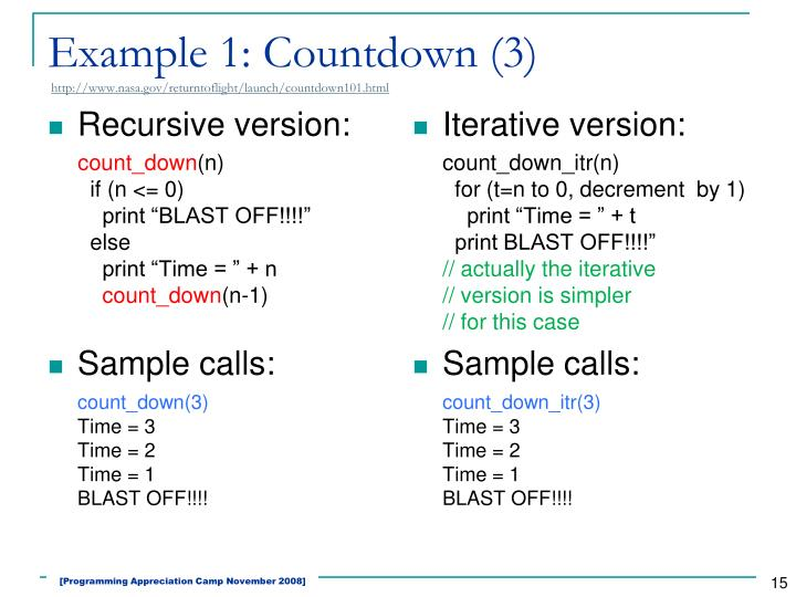 Example 1: Countdown (3)
