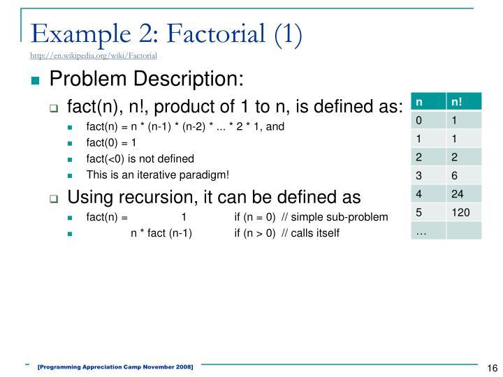 Example 2: Factorial (1)