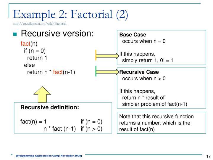 Example 2: Factorial (2)