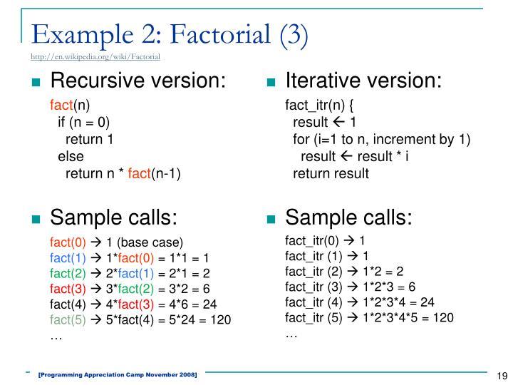 Example 2: Factorial (3)