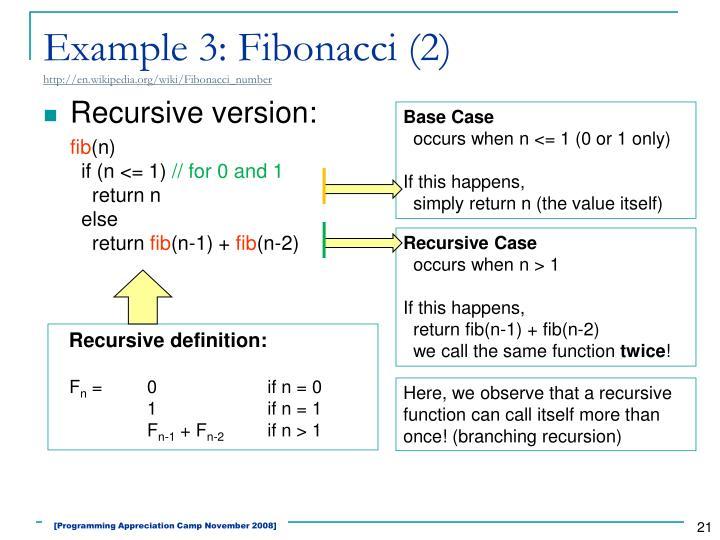 Example 3: Fibonacci (2)