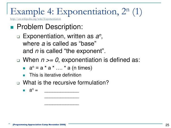 Example 4: Exponentiation, 2