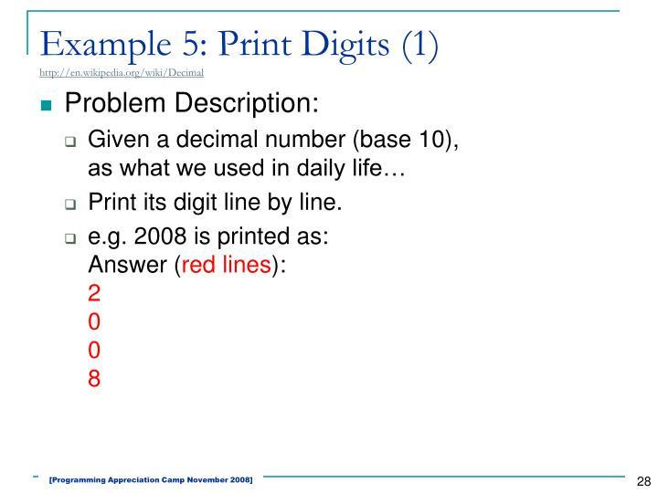 Example 5: Print Digits (1)