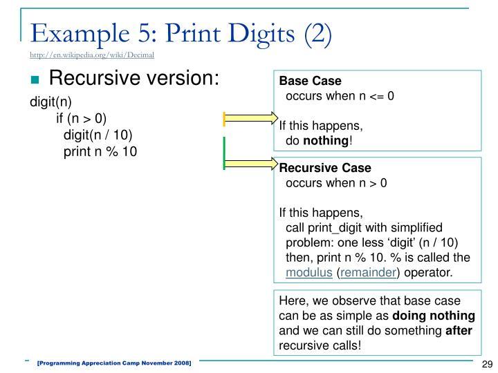 Example 5: Print Digits (2)