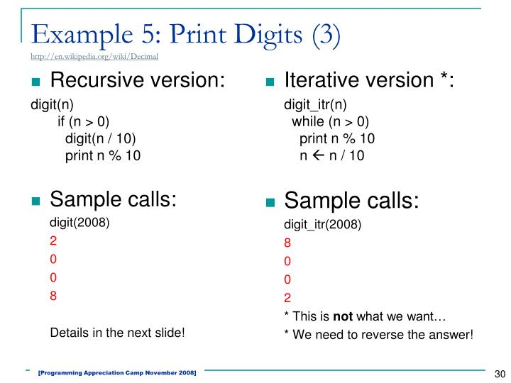 Example 5: Print Digits (3)