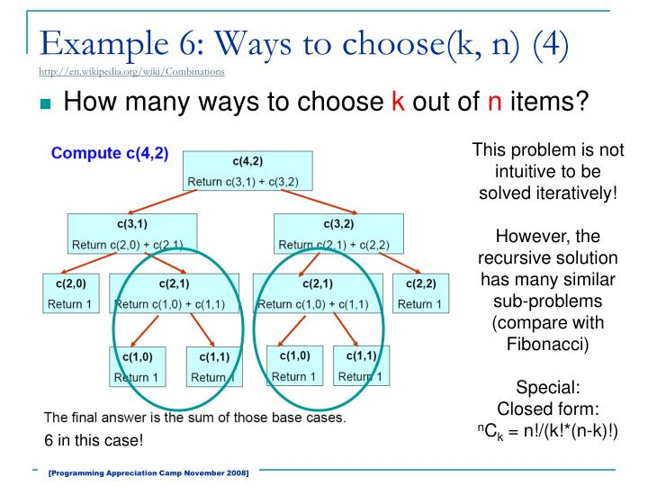 Example 6: Ways to choose(k, n) (4)