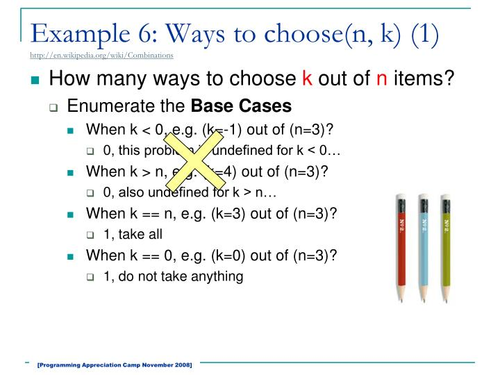Example 6: Ways to choose(n, k) (1)