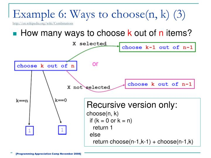 Example 6: Ways to choose(n, k) (3)
