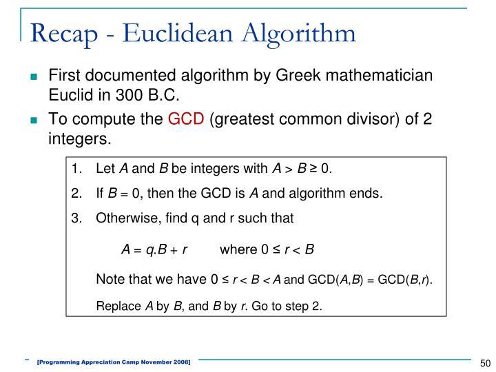 Recap - Euclidean Algorithm