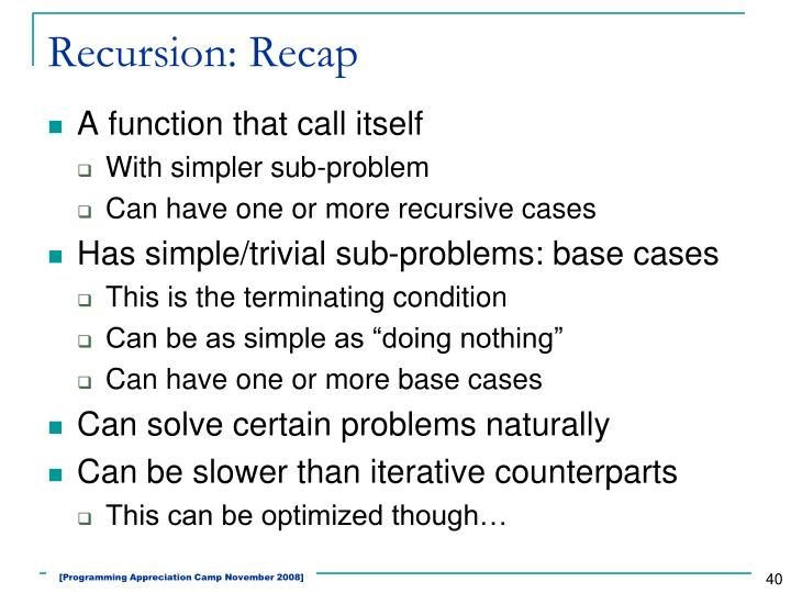 Recursion: Recap