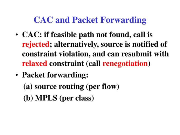 CAC and Packet Forwarding