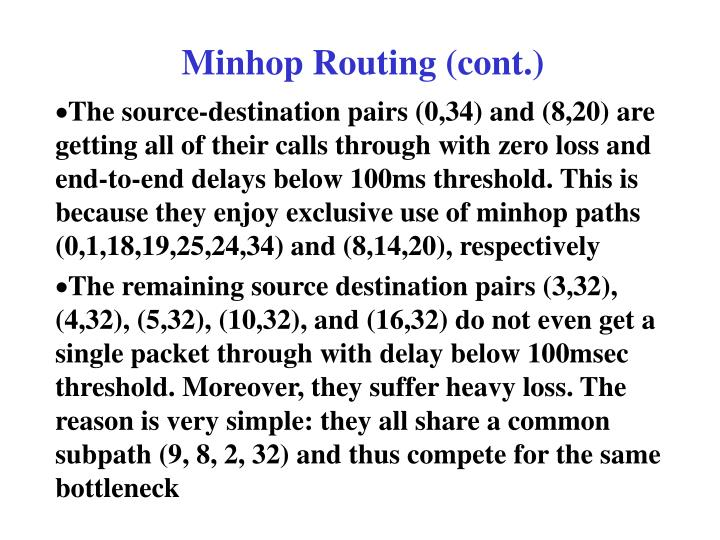 Minhop Routing (cont.)