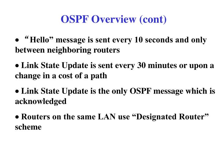 OSPF Overview (cont)