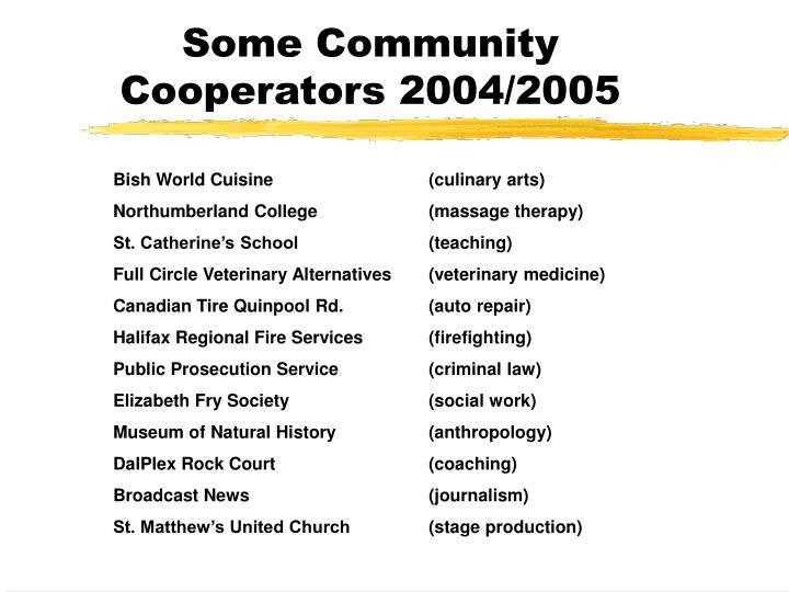 Some Community Cooperators 2004/2005