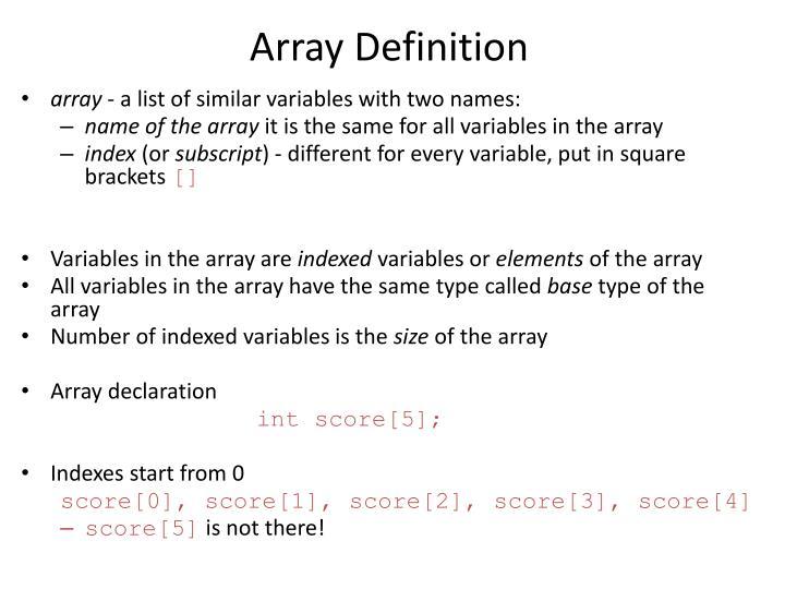 Array Definition