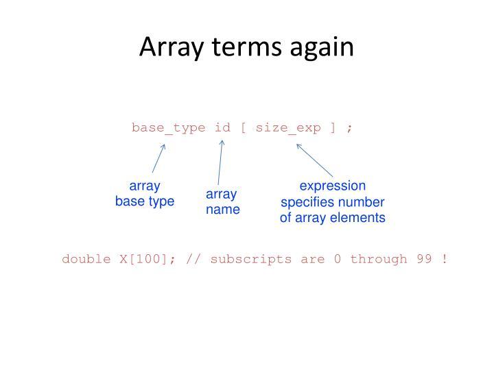 Array terms again
