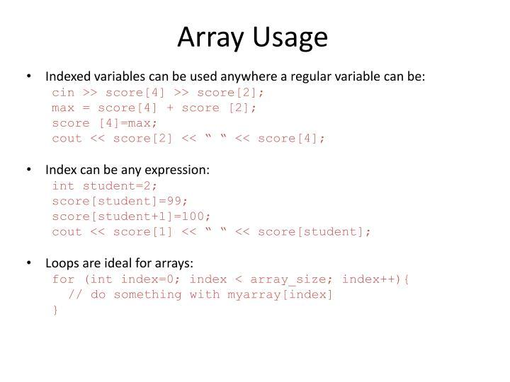 Array Usage