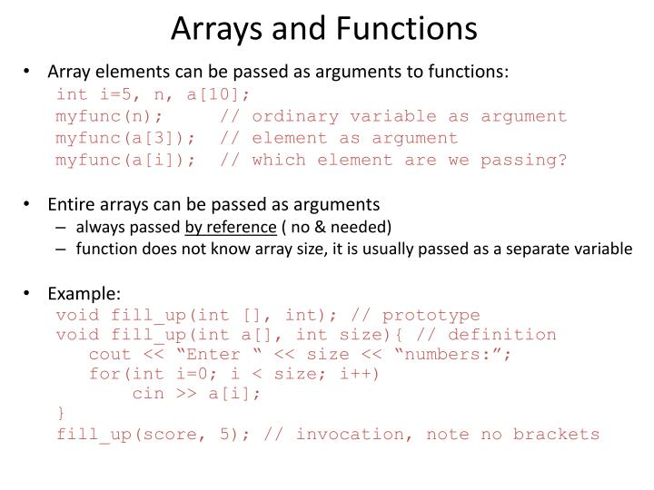 Arrays and Functions
