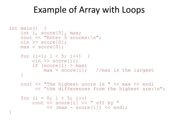 Example of Array with Loops