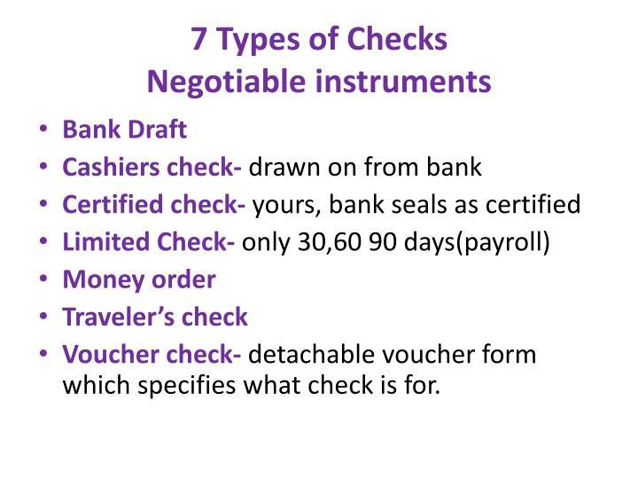 7 Types of Checks