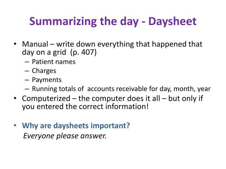 Summarizing the day - Daysheet