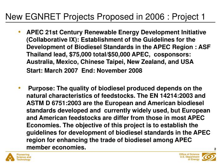 New egnret projects proposed in 2006 project 1