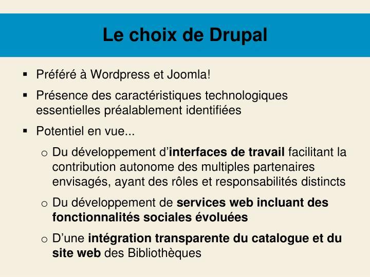 Le choix de Drupal
