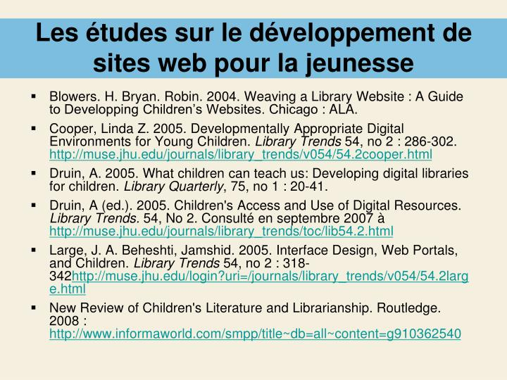 Les études sur le développement de sites web pour la jeunesse
