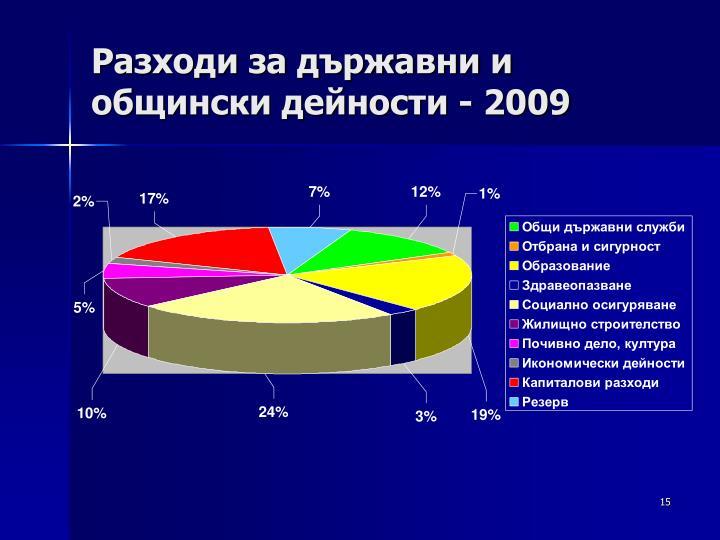 Разходи за държавни и общински дейности - 2009