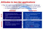 attitudes to two tier applications
